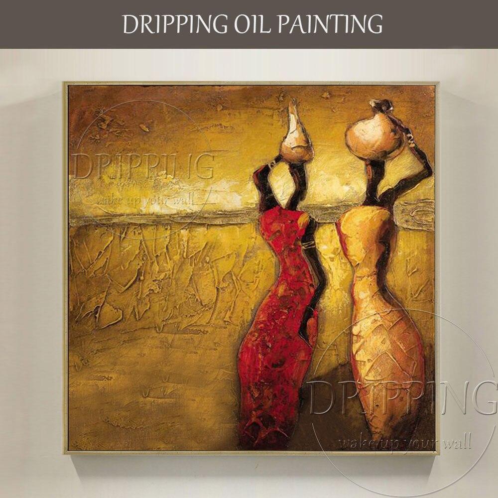 Professionale Artista dipinto A mano di Alta Qualità Astratta Africa Donna Pittura A Olio su Tela Bella Africano Pittura A Olio di Arte