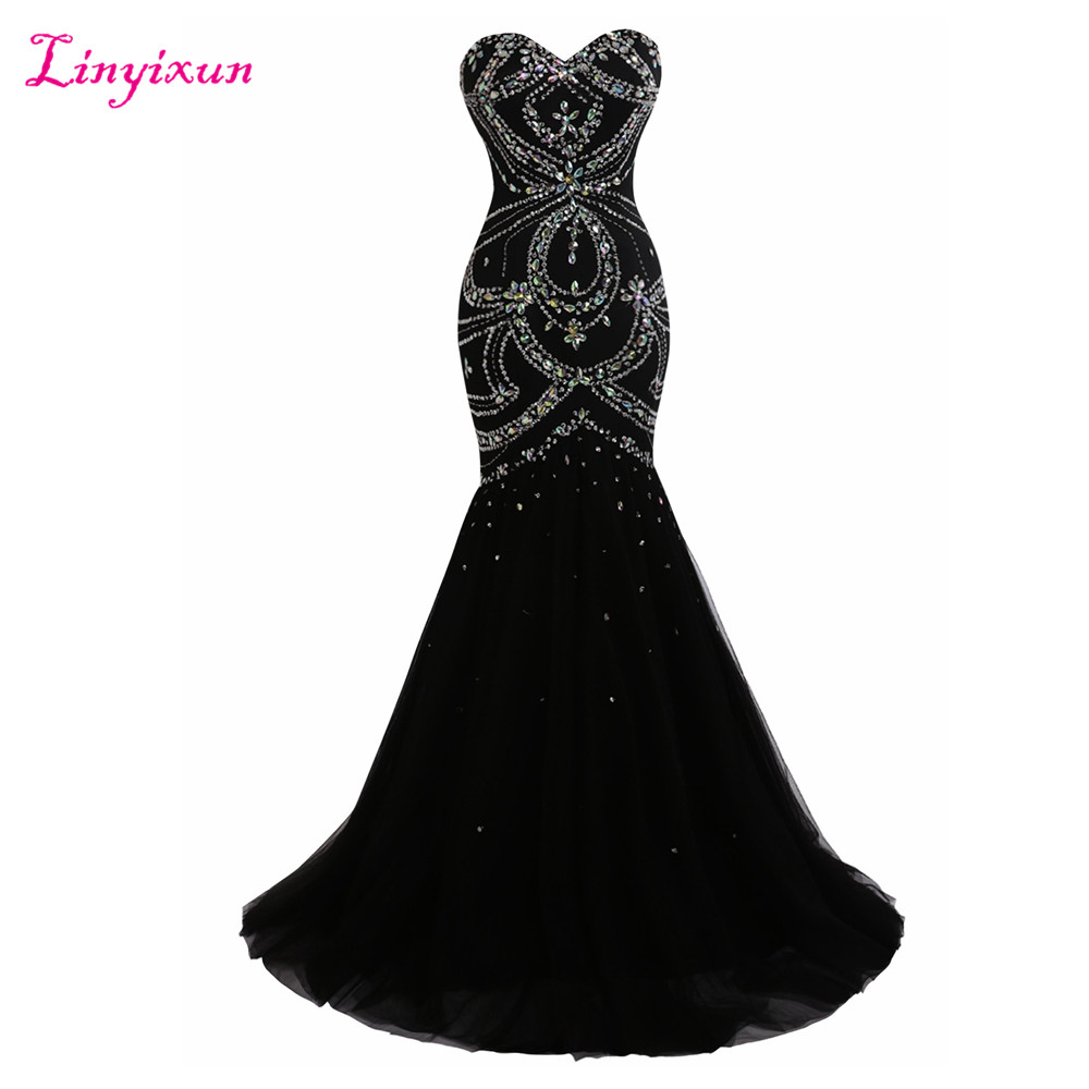 Linyixun Real Photo Sexy Black Long Mermaid   Prom     Dresses   2017 New Sweetheart Beaded Party Evening Gown Luxury Robe de soiree