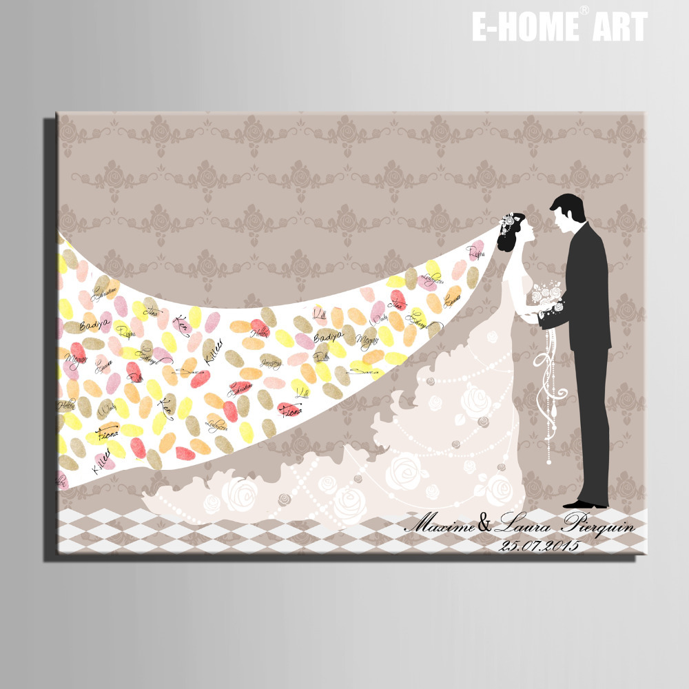 Fingerprint Tree Signature Canvas Painting Bride Groom Wedding Gift Diy Decoration Party Include