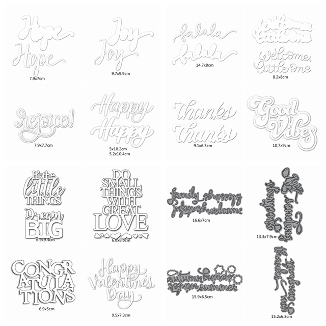 29 Sets Letter Word Metal Cutting Dies Stencils For Diy Scrapbooking