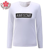 Cherry Blossom Famous Brand Tshirt Autumn Winter T Shirts For Women Classic Long Sleeve T Shirt