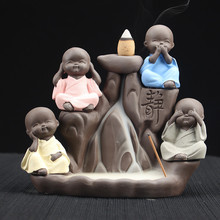 Decoração de casa suporte da vara do incenso budista cerâmica incenso incenso o pequeno monge bonito backflow cones queimador cerâmica ofício