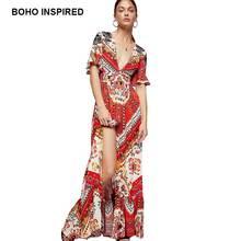 BOHO DRESS combo PRINTED MAXI DRESS SHORT SLEEVES RUFFLE TRIM summer dresses  V-neck open