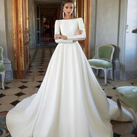Vestidos de novia Long Sleeves wedding Dress 2019 Soft Satin Button Wedding Dresses vestido de novia White/Lvory Bride Dresses