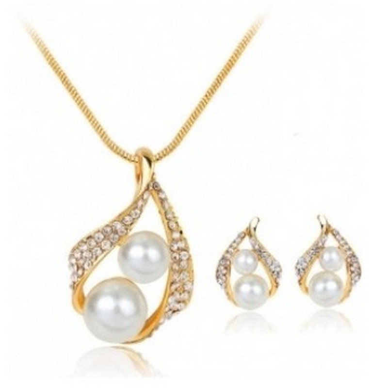 New Cute European American Water Drop Simulated-pearl Crystal Jewelry Sets for Women Chain Necklace Earrings Bridal Wedding Gift