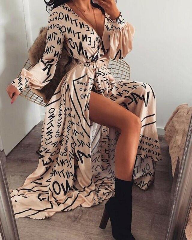 Mujer letra impresa sexy Vintage cuello en V de manga larga Raja Maxi vestido nueva moda señoras Bandge vestido largo vestido veraniego para fiesta en la playa Joyería de moda Maxi Collar para mujer 2019 nuevo Collar de cuentas de cristal de diamantes de imitación gargantilla Collar borla declaración Chockers