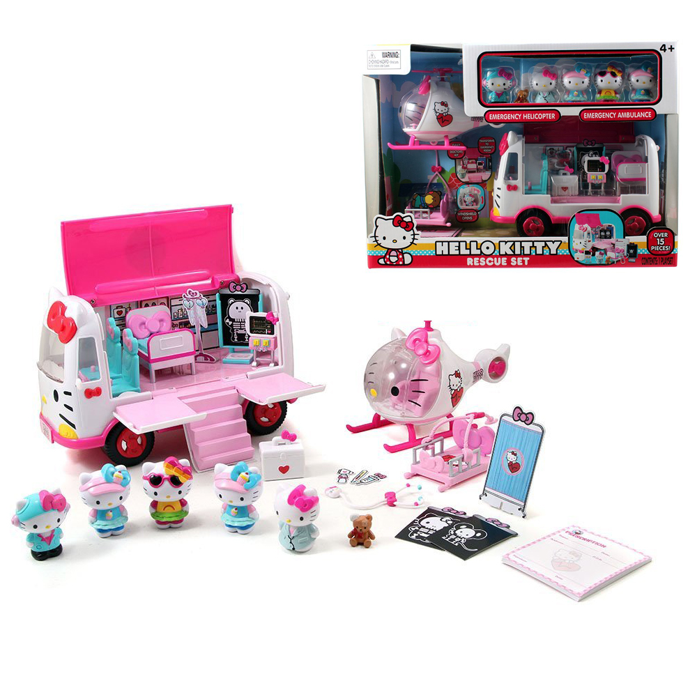 Jada Hello Kitty School Bus Playset Jet Plane Play Set Rescue Girls' Toys Gifts for Children 15 PCS in It 6 Figures 4+ Age 6pcs set kawaii hello kitty action figures kids toys kt cat toys gift 4 3cm
