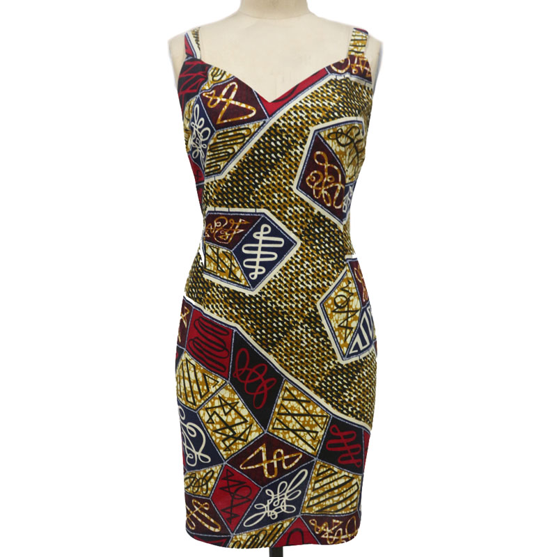 African Dresses For Women Cotton Batik Fabric Casual Dress