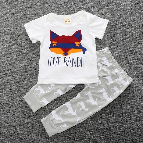 Summer Baby Boy Clothes Cotton Sleeveless Mike T-shirt + Fox Print Shorts Boys Baby Clothing Set 2 Pcs. Costume