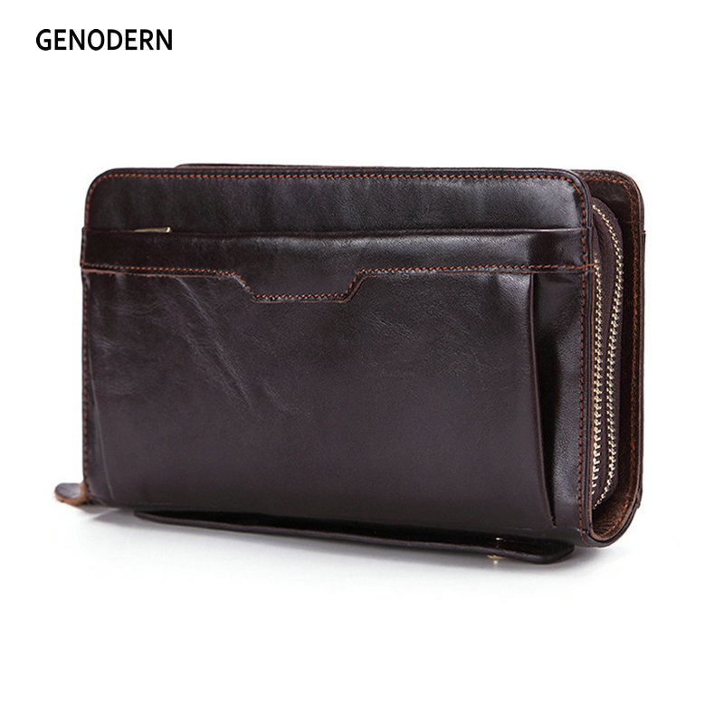 GENODERN Business Men Clutch Wallets Luxury Double Zipper Genuine Leather Long Purses  Large Capacity Cowhide Wallet  For Male
