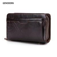 GENODERN Business Men Clutch Wallets Lucury Double Zipper Genuine Leather Long Purses Large Capacity Cowhide Wallet For Male