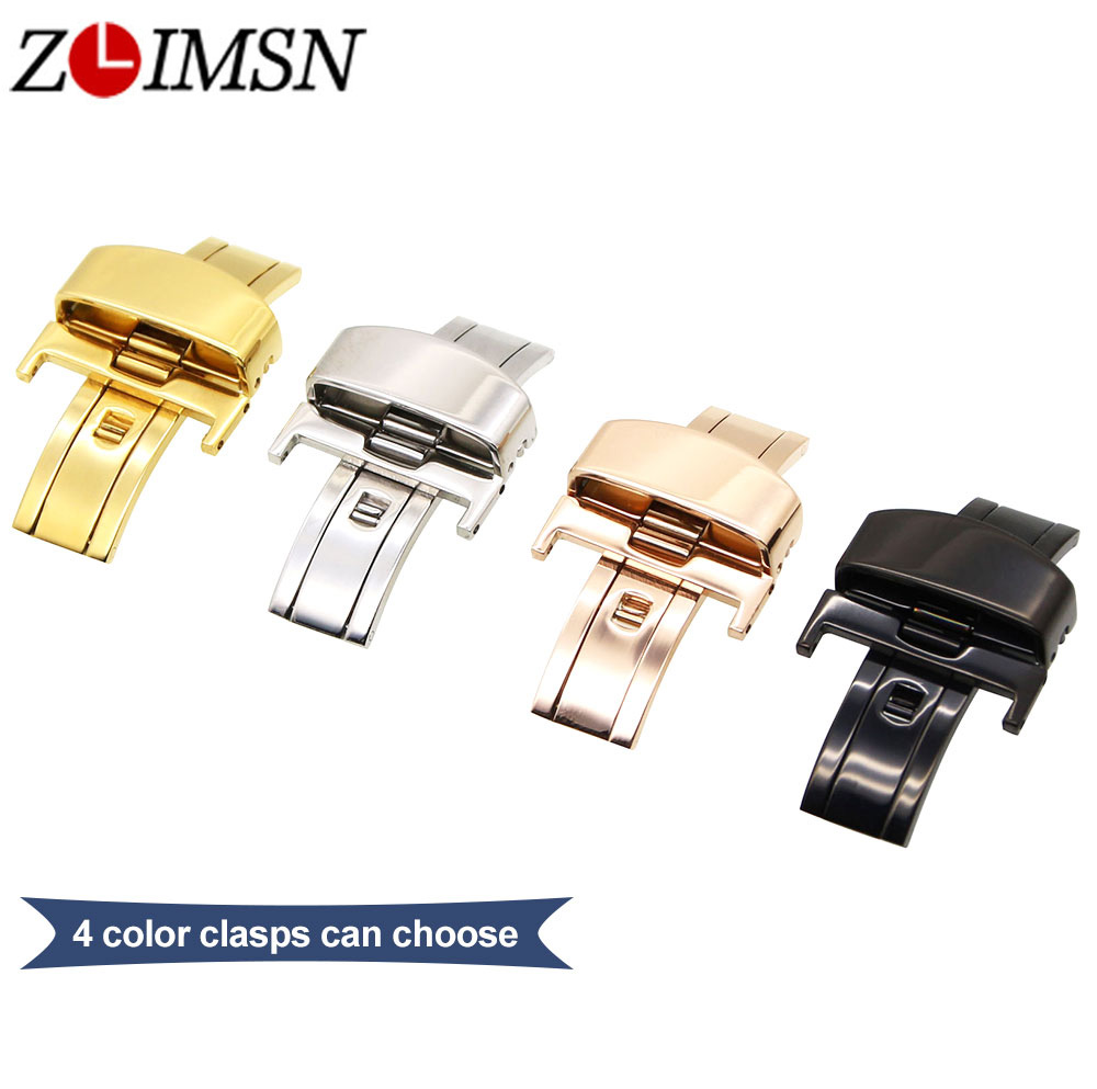 ZLIMSN 10 12 14 16 18 20 22mm Butterfly Buckle for Leather Watch Bands Silver Black Rose Gold Stainless Steel Clasp Free Tool solid scrub stainless steel brushed black gold silver rose gold finished watch band clasp buckle watchbands 16 18 20mm 24mm 26mm