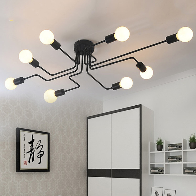 Us 73 75 Vintage Ceiling Light Iron Multiple Rod Creative Retro Personality Luminaria Led Home Lighting Fixture Lamp In
