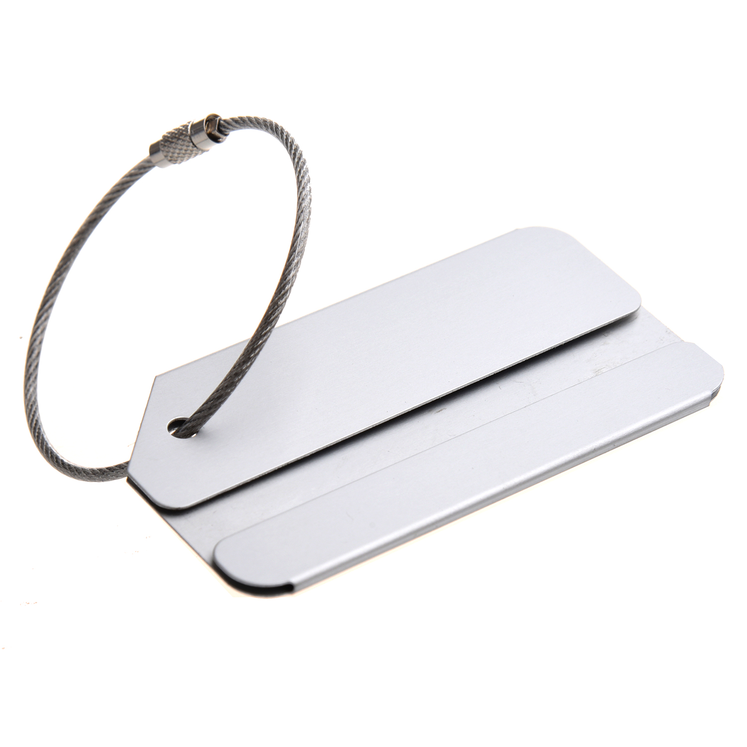 Aluminum alloy address label luggage trailer luggage tag name tag with metal cable (silver)