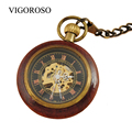 New Steampunk Retro Archaize Red Copper Steel Roman Number Pendant Mechanical Pocket Watch Men Women Nice Gift