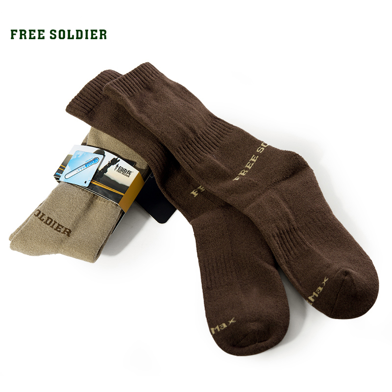 FREE SOLDIER Outdoor Sports Hiking Men Socks Thick Coolmax Quick-drying Long short Socks Color Brown danjue genuine leather men wallets long coin purses big capacity card holder cowhide day clutch phone money bag