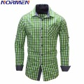 NORMEN Brand Men's Fashion Full Sleeve Plaid Shirt EUR Size Top Grade Casual Shirt Men