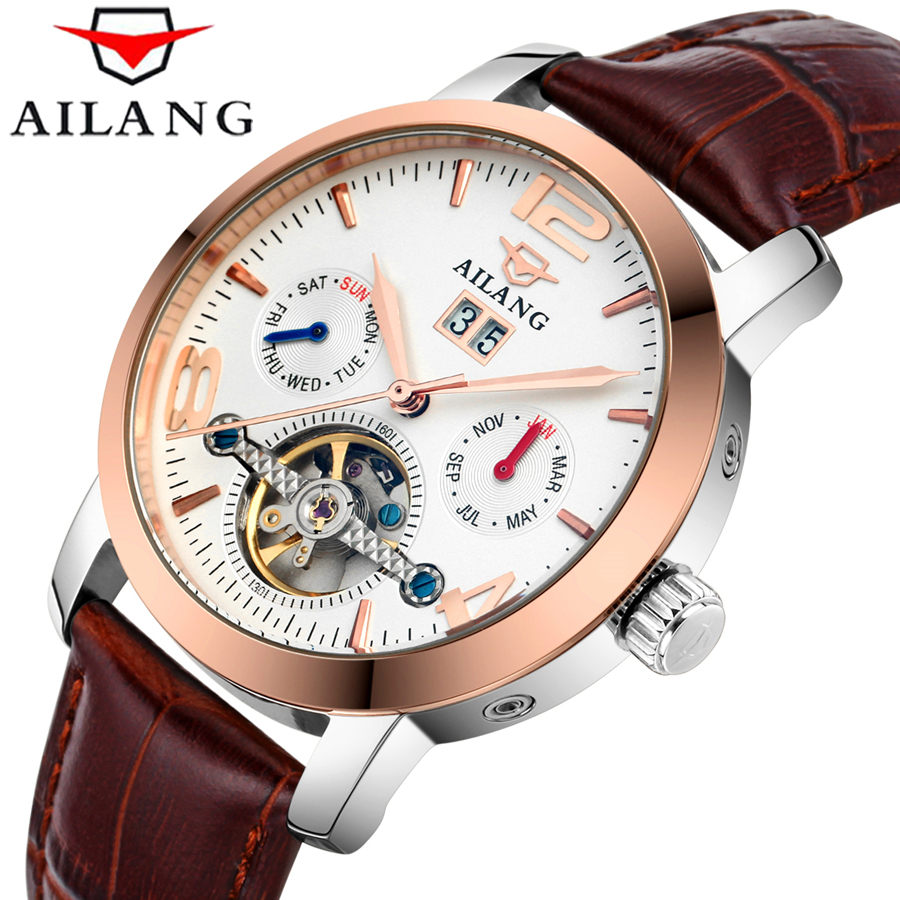 Mens Watches Top Brand Luxury Automatic Mechanical Watch Tourbillon Clock Leather Casual Business Wristwatch relojes hombre 2017 wrist switzerland automatic mechanical men watch waterproof mens watches top brand luxury sapphire military reloj hombre b6036