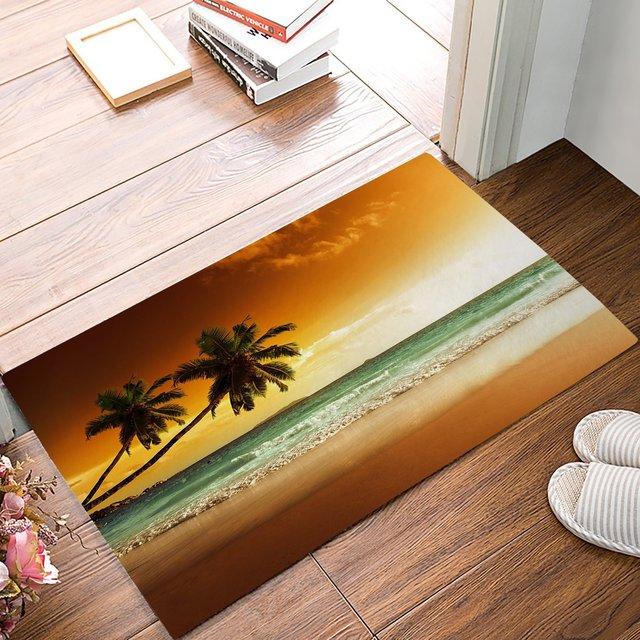 Tropical Palm Tree Door Mat Rug Floor Mats Front Doormats Non Slip Bedroom Carpet Home