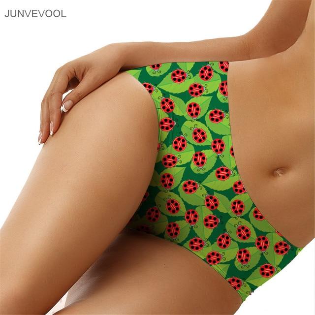 Bragas Mujer Women's Multicolor Bikini Bottom Ladybug Animal Print Sexy Mini Briefs Beach Party Wear Thong 3D Underwear G-string