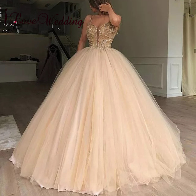 New Fashion 2019 Sexy V Neck Delicate Gold Beaded Custom Made Ball Gown Champagne Floor Length Prom Dresses