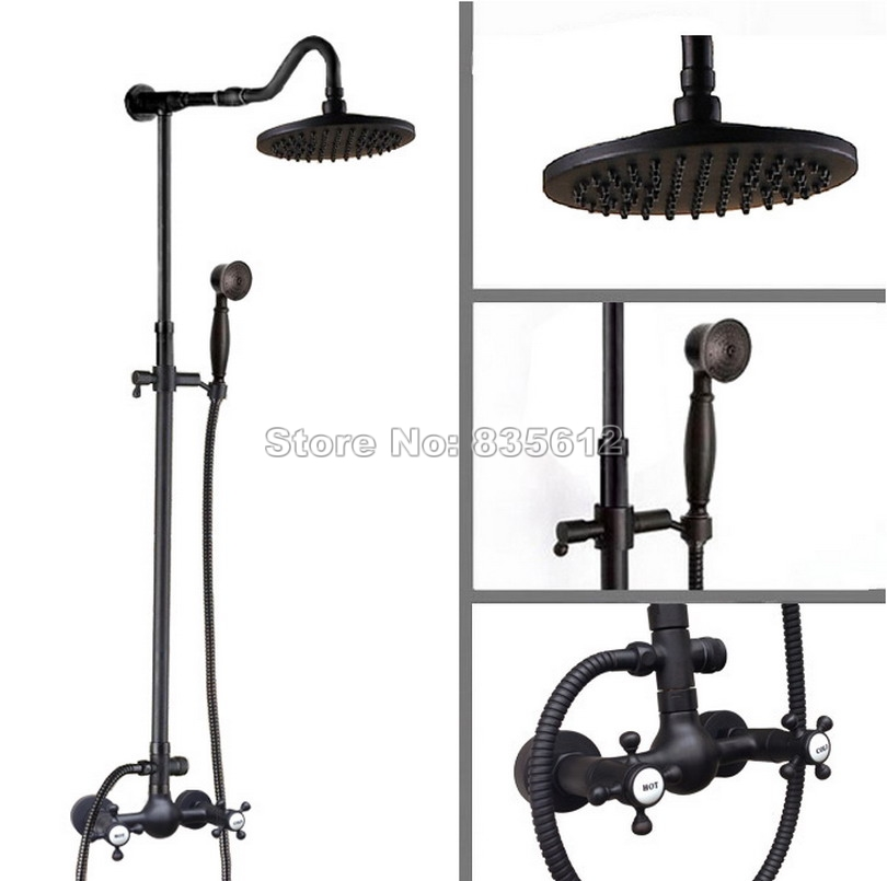 Bathroom Black Oil Rubbed Bronze 8 inch Shower Head Rain Shower Faucet Set Wall Mounted with Dual Cross Handle Mixer tap Wrs795