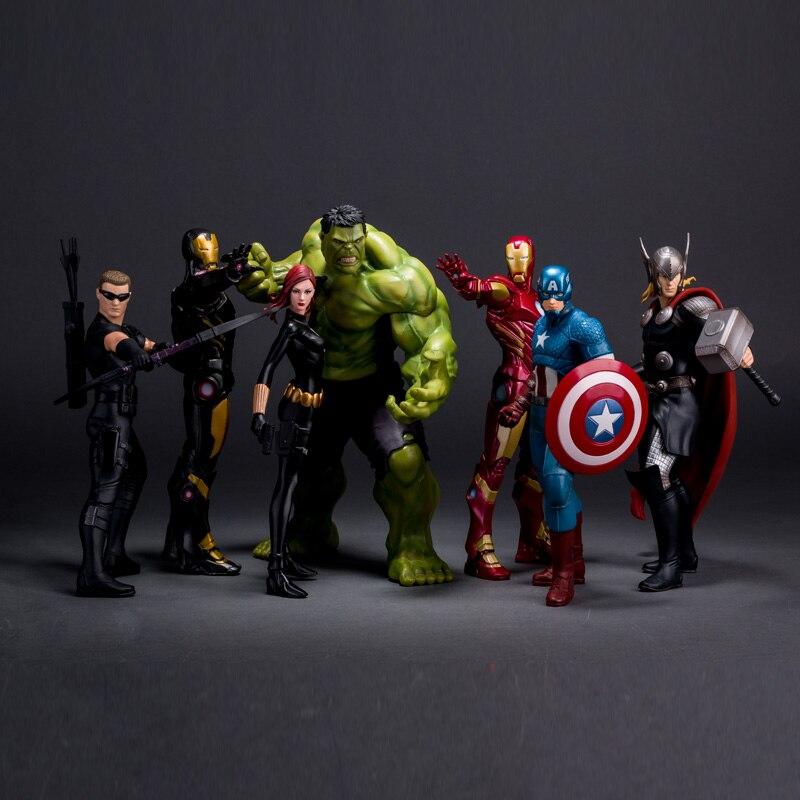 Verrückte Spielzeug Avengers 2 Alter von Ultron Eisen Man Black Widow Hawkeye Captain America Thor Hulk PVC Action-figur Spielzeug KT400