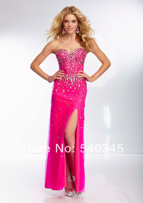 Side Split Mermaid Sweetheart Floor-Length   Prom     Dresses   2019 Crystal Sequined Beading Sexy Backless Tulle Long Party   Dress