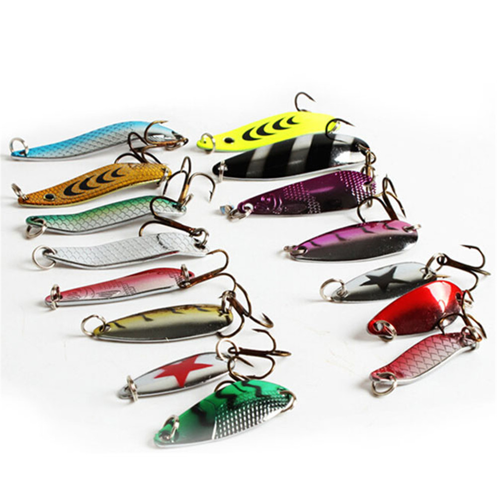 цены на Sales 30pcs Artificial Bait Fishing Lure Kit 3-7g Minnow/Popper Spinner Spoon Metal Lure Iscas