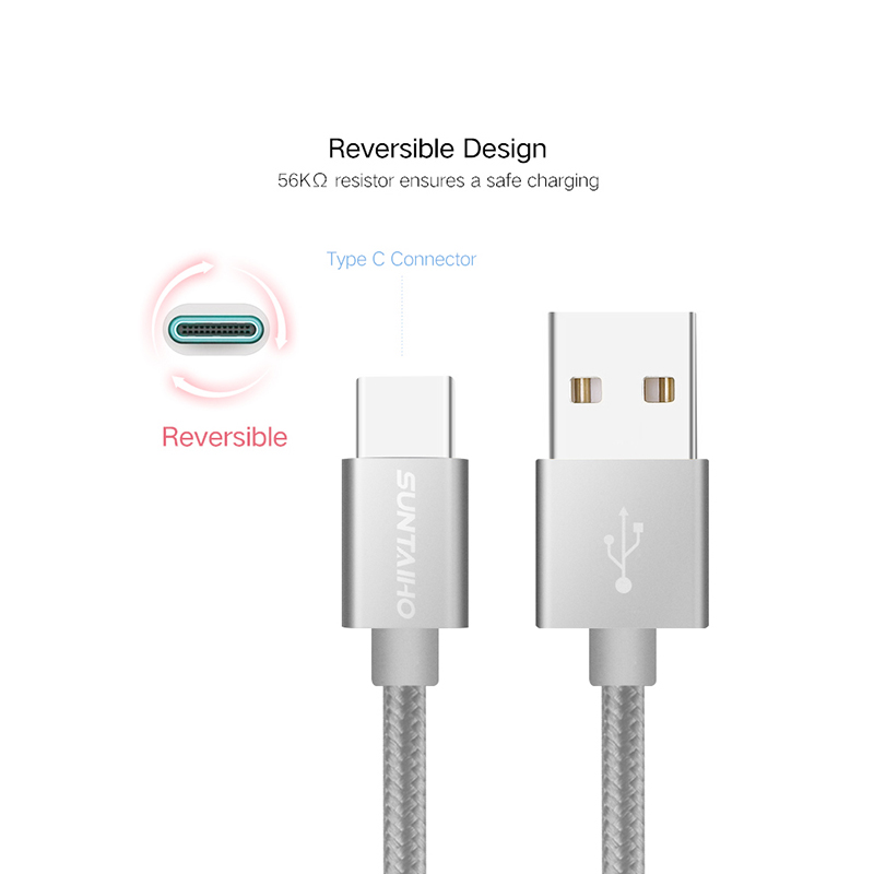 Suntaiho 6V 3A 3.1 USB Type C Fast Charger Data Nylon Cable For Xiaomi 5 5C 5S 5S Plus 6 7 Xiaomi mi9  For One Plus 2 3 5 Yota