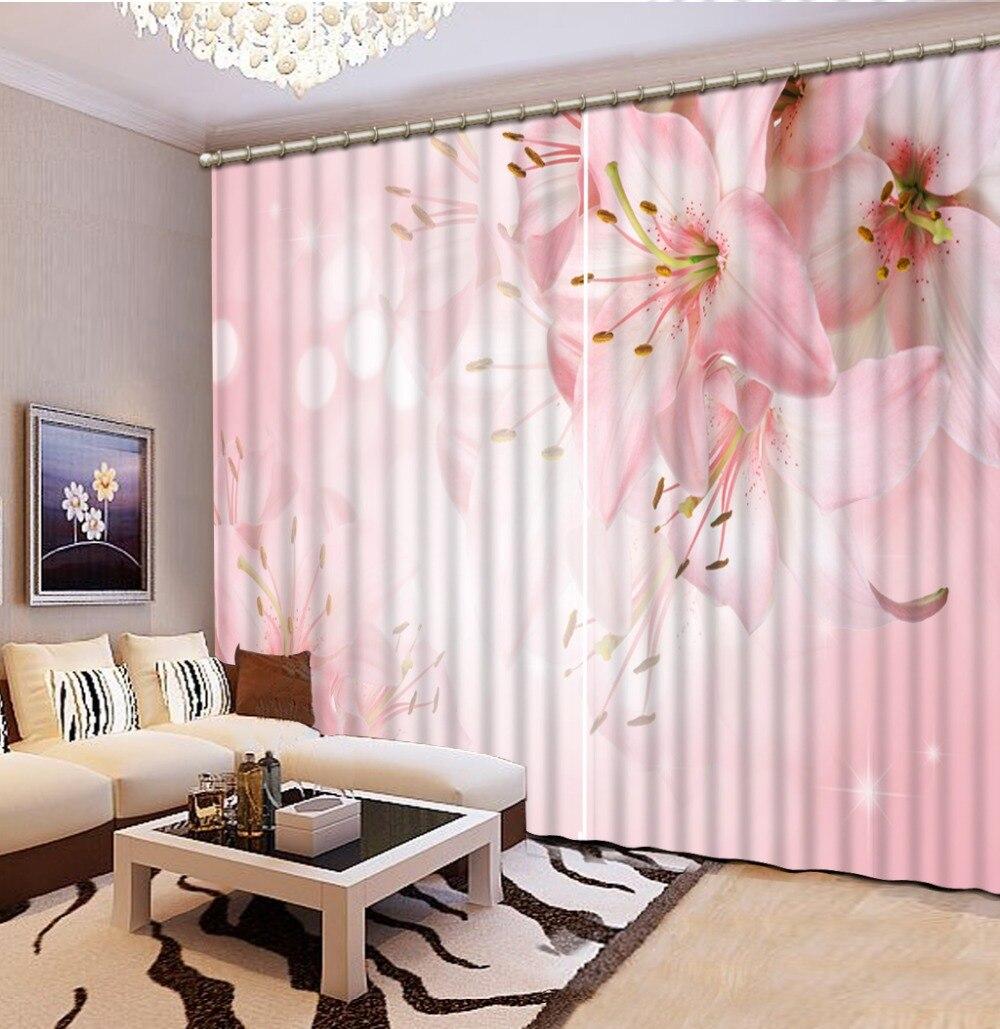 Foto Přizpůsobit velikost Móda Catoon Moderní růžový květ lilie Závěs okna místnosti