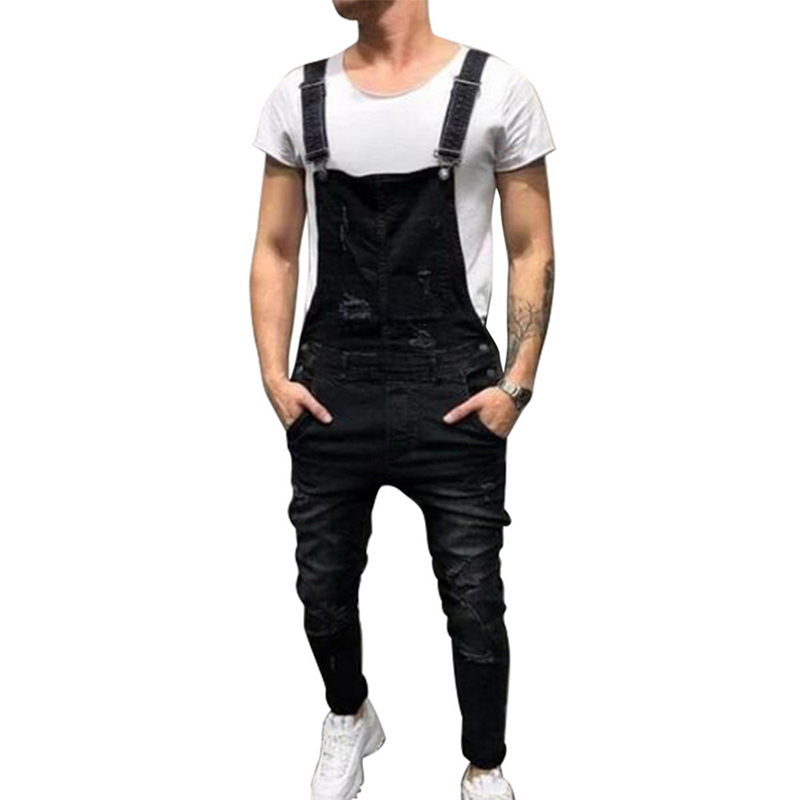 LASPERAL Fashion Ripped Hole   Jeans   Jumpsuits Men Casual Streetwear Distressed Denim Overalls Hip Hop Suspenders Pants Romper
