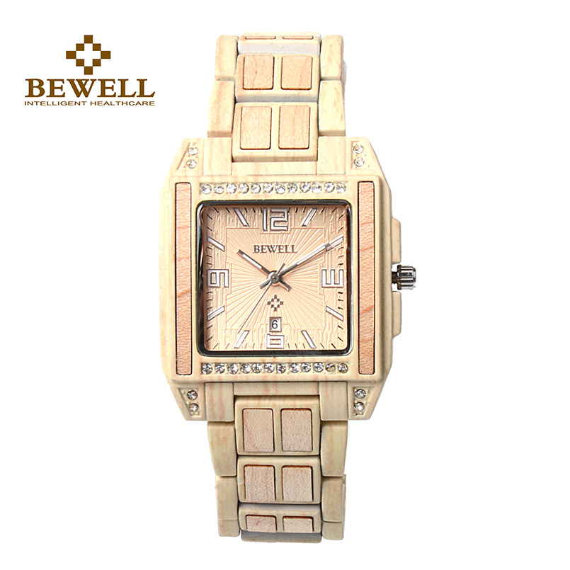 BEWELL Quartz Wristwatches Wooden Diamonds Designer Casual Fashion with A-Gift for Your-Fmaily/friend