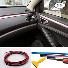 цена на Car Interior Decoration Moulding Trim Strip DIY Exterior Line Sticker Insert Air Outlet Dashboard Decoration 3D Strip 5M CB013