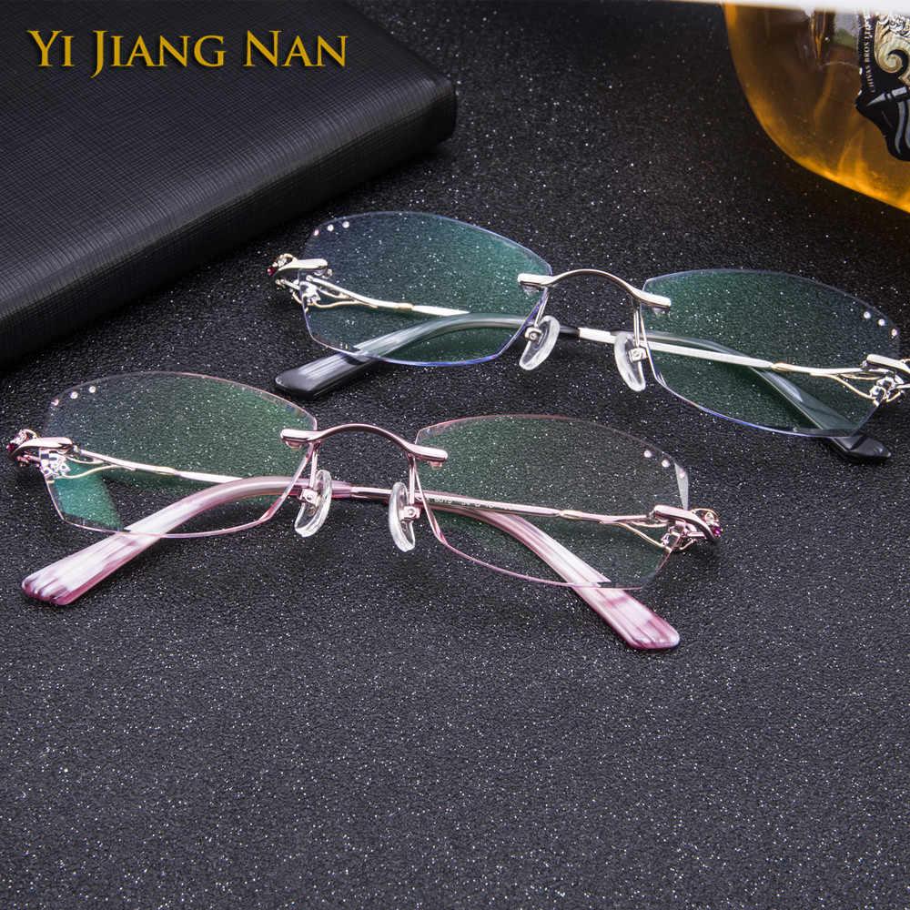 Diamante aparado sem aro titânio óculos feminino moda rosa óculos com lentes matiz