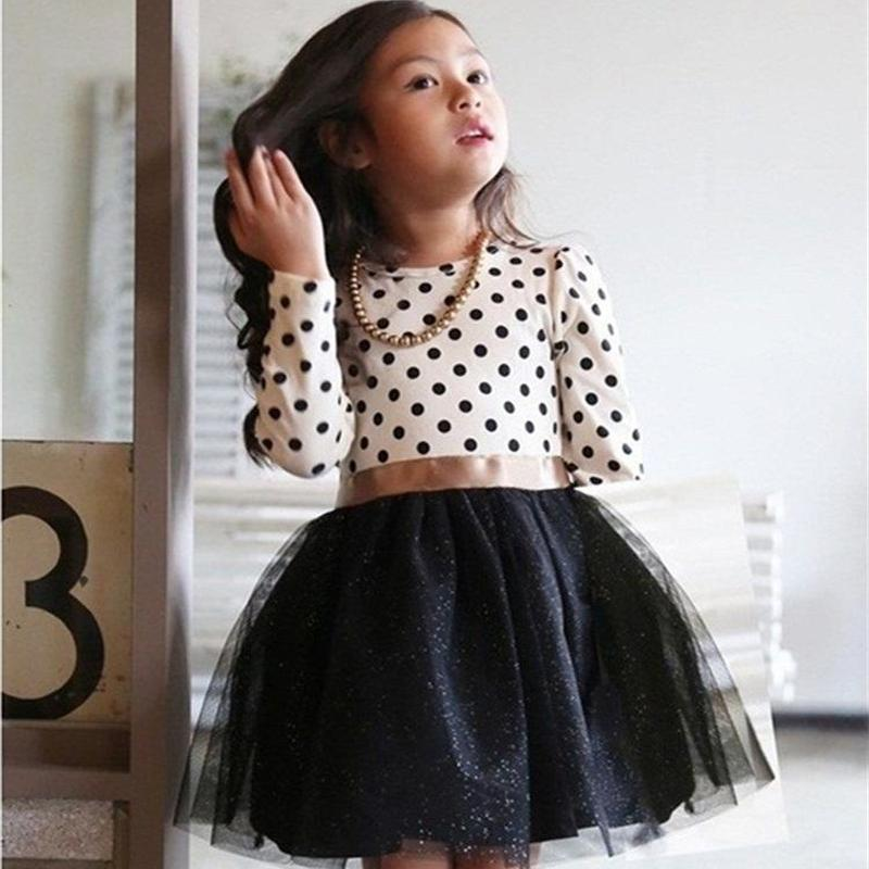 Winter Dress 2017 Long Sleeve New Girls Clothing Polka Dot Dresses For Girls Princess Party Costume Kids Clothes new fashion autumn winter girl dress polka dot