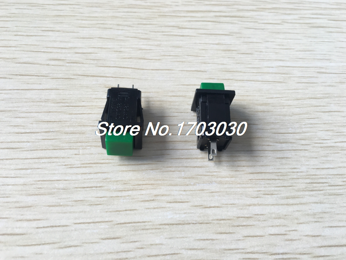 10 Pcs Green Button Latching Pushbutton Switch SPST AC 125V/3A 1A/250V