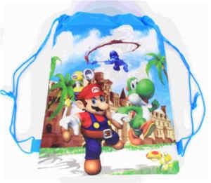 Image 3 - 20 Chiếc Super Mario Chủ Đề Vải Không Dệt Dây Rút Ba Lô Cho Bé Sinh Nhật Ủng Hộ Tặng 34*27Cm