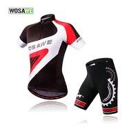 WOSAWE Cycling Set Short Sleeve Sport wear Bike Bicycle Jersey 3D Gel Pad Cushion Bike Pants Summer Bike Clothing Jersey Set