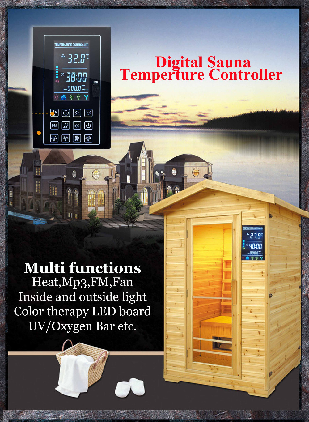 Mp3, FM, inside and outside light  sauna and household temperature control thermometer with LED sauna accessories stainless steel and plastic temperature and humidity thermometer