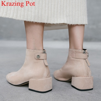 2020 new arrival comfortable zipper round toe high heels women ankle boots runway sweet fashion keep warm winter shoes L02 - discount item  50% OFF Women's Shoes