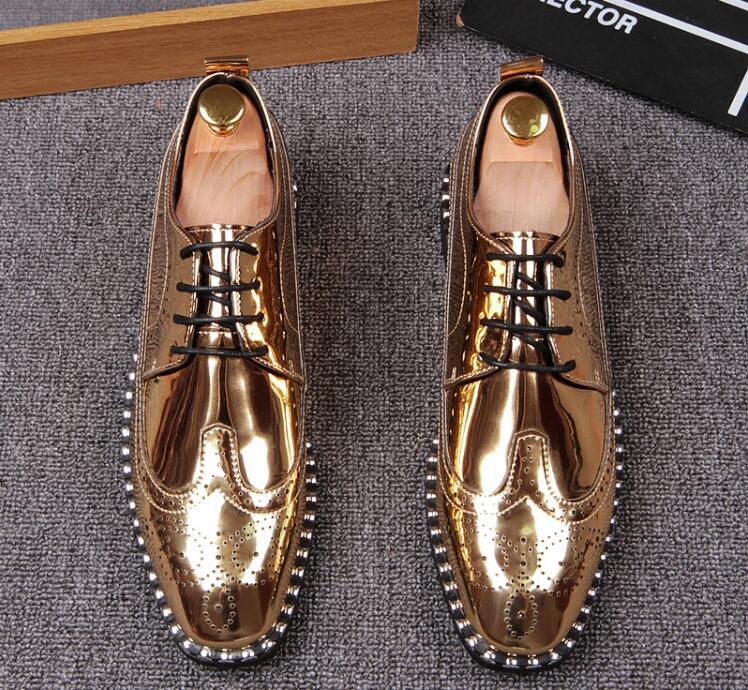ouro Dourado Respirável Esculpida Tendência Dos Sapatos Aumento De Brogue Homens Dedo Preto Apontado up Novo Casuais Sequinsshoes Lace Couro pW4cTUq