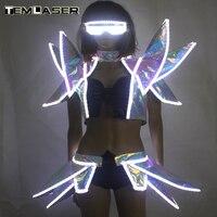 СВЕТОДИОДНЫЙ Костюмы Бальные танцы танцевальная светящаяся одежда для ночного клуба светящийся мигающий сценический светодиодный жилет н