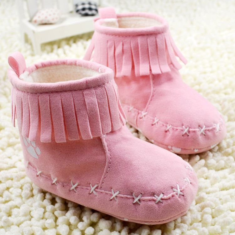7943dcf242b9 New Baby Shoes Infants Crochet Knit Fleece Boots Toddler Girl Boy ...