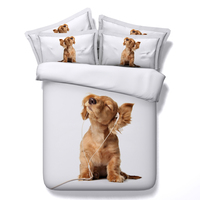 3d music dog pets bed linens white animals printed bedding sets queen twin full king sizes duvet cover 3/4pcs bedspreads teens