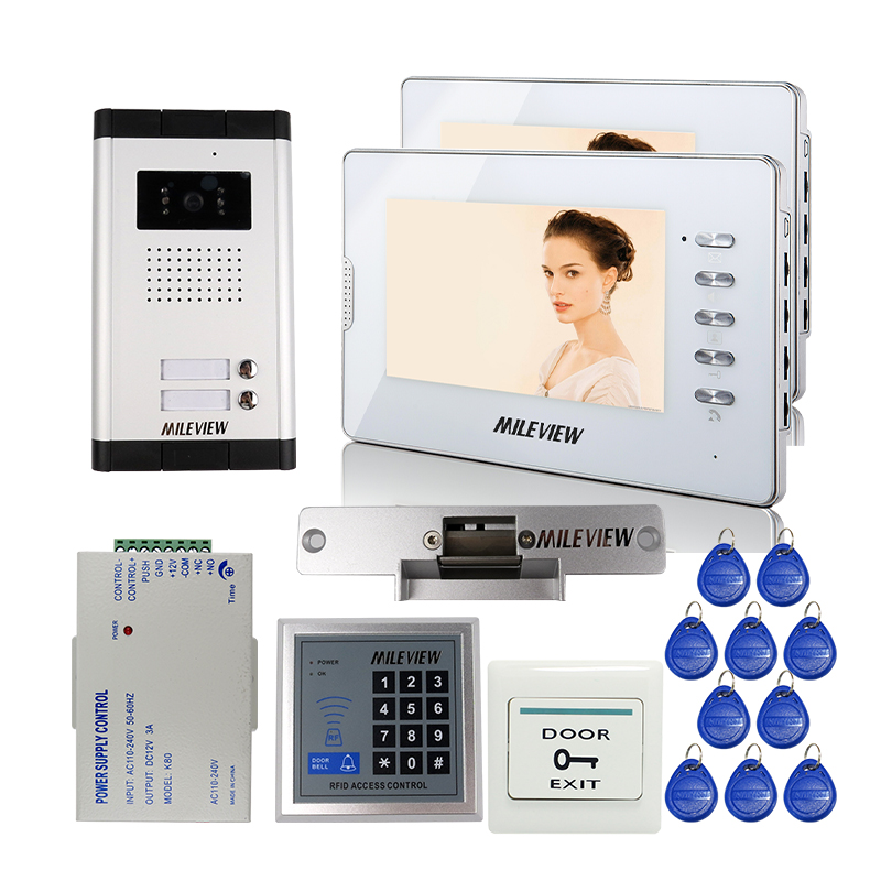 Wired Apartment 7 Color Screen Video Door Phone Intercom Kit 2 White Monitor for 2 Family + E-lock RFID Access FREE SHIPPING