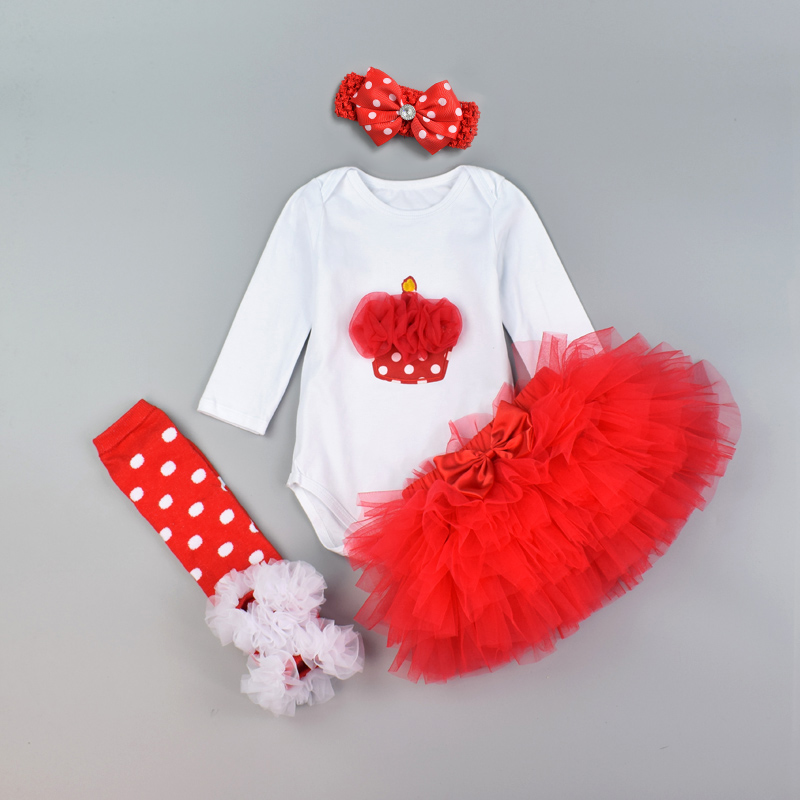 Baby Clothing Set 4pcs  Festival 1st Birthday clothes set Long Sleeve cotton cake heart romper bodysuit and 6 layer tutu skirt tutu set baby girl clothes birthday newborn lace bodysuit tutu skirt 1st birthday outfit cute toddler infant party clothing sets