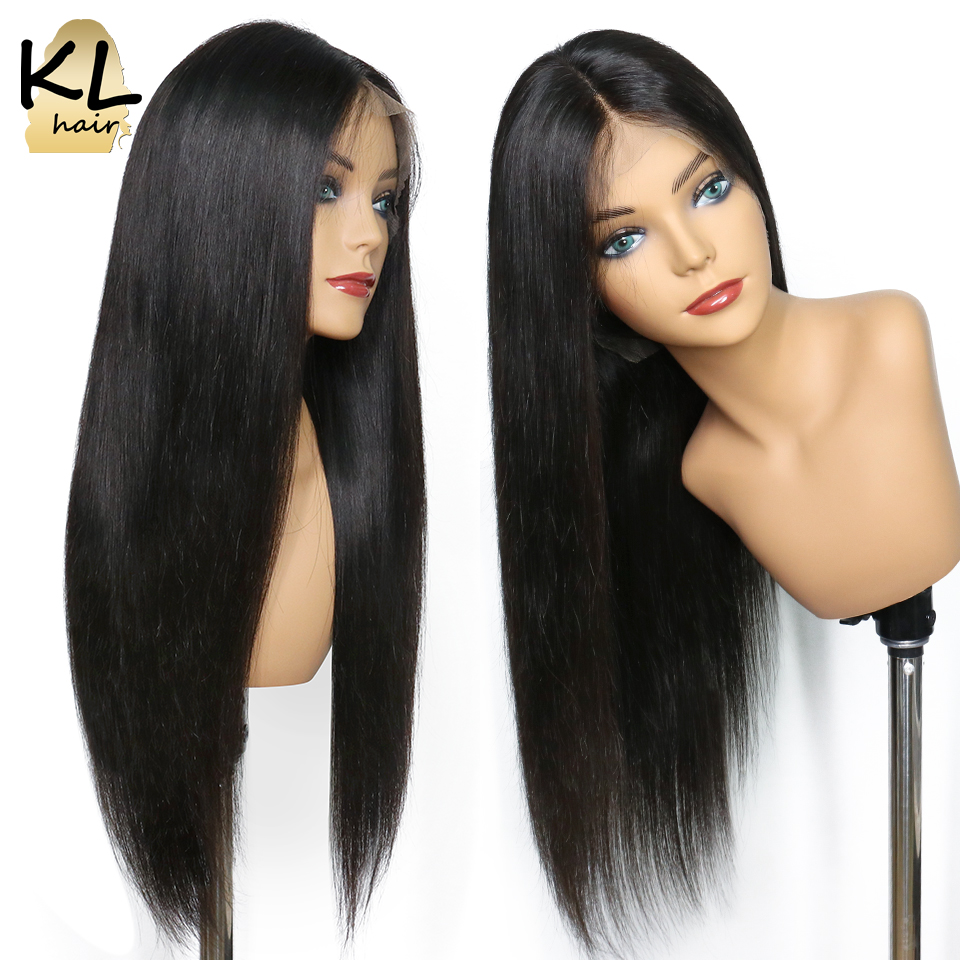 Straight Lace Front Human Hair Wigs For Black Women Glueless Full End Brazilian Remy Hair Pre Plucked Lace Wig With Baby Hair KL(China)
