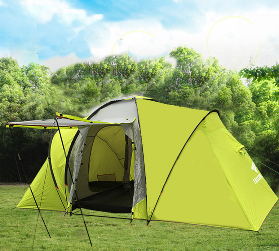 Ultralarge one hall two bedroom 5-8 person use double layer family party waterproof windproof camping tent in one person