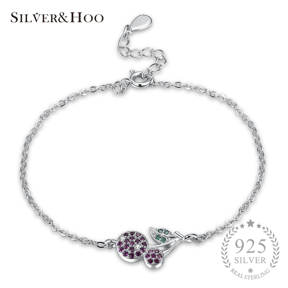 Jewelry & Accessories Amicable Silverhoo 925 Sterling Silver Romantic Bracelets Crystal Charm Cherry Zircon Bangles Jewelry For Women Gift Bangles Anniversary Fine Jewelry